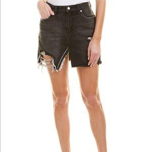 Free People Black Washed Ripped Denim Skirt